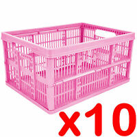 10 x 32L Plastic Folding Storage Container Basket Crate Box Foldable PINK