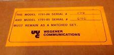 Wegener Communications Model 1791 TV Broadcast Stereo Modulator for 1601 or 1602