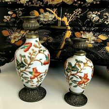 Chinese Export Brass Mounted Candlesticks, Crackle Glazed Antique