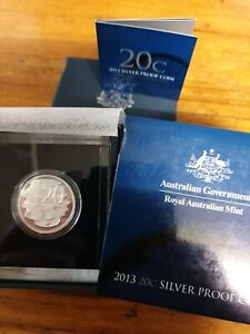 2013 20c Twenty Cent Silver Proof Coin - Royal Australian Mint -  20 Cent