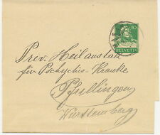 """SCHWEIZ 1921, 10 C grün Tell Brustbild GA-Streifband K2 """"MASANS"""" (jetzt CHUR)"""