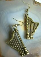 ausgefallen! bronze harfen ohrhänger 90er 55mm