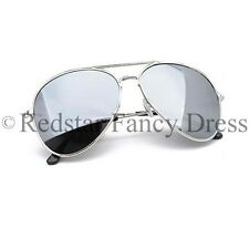 SILVER MIRRORED AVIATORS POLICE FANCY DRESS PC ACCESSORY POLICEMAN POLICEWOMAN
