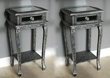 2 GREY  BLACK SILVER EMBOSSED MIRRORED LAMP TABLE VINTAGE STYLE BEDROOM CABINETS