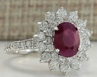 Princess Red Ruby Silver Ring Gemstone Women's Wedding Jewelry Luxury Design