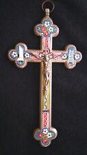 Antique micro mosaic cross - crucifix - Italian grand tour ROMA Sterling Silver