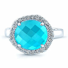 Swiss Blue Topaz Diamond Checkerboard Ring 14k White Gold Cocktail Unique Womens