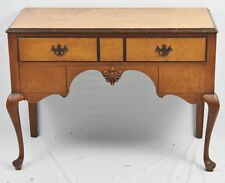 Queen Anne Style Tiger Maple and Oak Lowboy Chest of Drawers Williamsburg Style