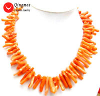 """5*30mm Orange GENUINE Branch NATURAL Coral 20"""" Chokers Necklace for Women 5608"""