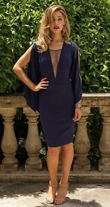 Miss Holly NEW WITH TAGS Emilia Dress Bodycon Size S Navy Blue RRP $149