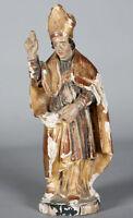 Sculpture Bois Polychrome du 18 ème, Evéque, avec dorure, 24 cm