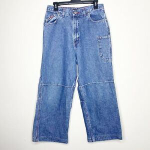 Bugle Boy 77 Jean Co Boys Size 18H Husky Solid Blue Straight Leg Denim Jeans