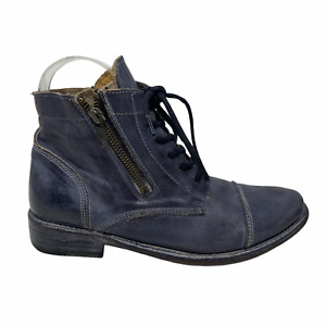 BED STU Blue Combat Boots 6.5 Leather Women's Cobbler Series Bench Made Ankle