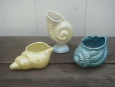 3 Sea Shell Lusterware Art Pottery Yellow Marked Islay Scotland