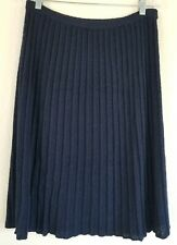 Vintage Navy Blue pleated Skirt size M Campus Casuals Knit Retro Bohemia