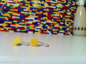 Handmade MonkiStuff Dangle/Drop Silver Earrings made from LEGO® flower pieces