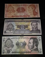 Lotto di 3 banconote Honduras in FDS