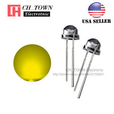 100pcs 5mm Straw Hat Yellow Light Wide Angle Transparent LED Emitting Diodes USA