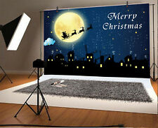 Christmas Eve Santa Claus Sled Moon 7x5ft Photography Background Backdrops Props