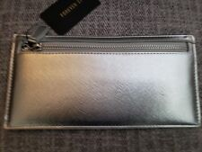 Women's Long Holiday Glam Thin Clutch Wallet 4 Slot Credit Card Holder Silver 🎁