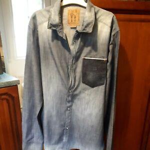 Pearly King Designer  Light Weight  Distressed Denim  Shirt XXL