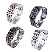Volcanic Lava Iron Samurai Metal Faceless Bracelet Sport LED Watch Pick Color