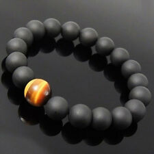 Men's Natural Fashion Spot Stone Beaded Stretch Black Onyx Tiger Eye Bracelet