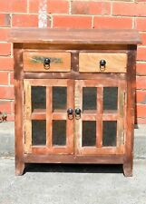 Vintage Industrial Recycled Timber Glass Door  Bedside Cabinet Lamp Table