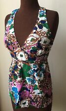 TOPSHOP women's 70s vintage style top 10 beach summer floral vest strappy v neck