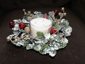 BATH AND BODY WORKS CHRISTMAS WREATH CANDLE RING SNOW FLOCKED  BRAND NEW