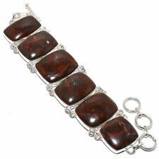 """Red Jasper Gemstone Handmade 925 Sterling Silver Bracelet 6-9"""""""