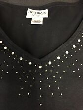 ESSENTIALS BY MAGGIE WOMEN'S SZ 14-16 BLACK V-NECK WITH RHINESTONES, LONG SLEEVE