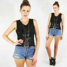 Vtg 90s 70s Boho Hippy Gypsy Black Sequin Beaded Sheer Crochet Blouse Tank Top S
