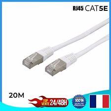 Câble réseau ethernet RJ45 CAT 5E - BLANC - Ordinateur Console Jeux-vidéo 20m