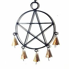 Hanging Black Metal Pentagram - Brass Bells-Chimes