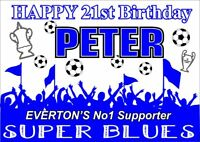 Everton Birthday Poster Banner | Boy Girl | Personalised Name Football |TP201