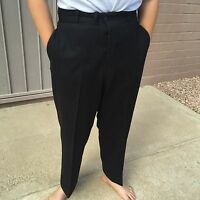 Antique Mens Pants Black Wool 33 x 27 Button-Fly Unlined Trousers Steampunk 1900