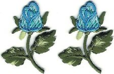 "LOT 2 1.5"" Blue Rose Flower Embroidery Patch"
