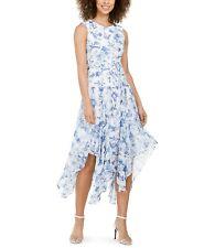 Calvin Klein NWT BLUE/WHITE Floral Belted Handkerchief-Hem Midi Dress,size 4