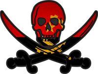 Sticker decal flag jack rackham pirate  ANG angola
