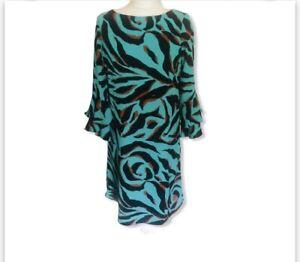 Wallis Turquoise Animal Print Shift Dress 10 Bell Sleeves