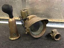Antique brass Powell Hanmer Carbide head lamp Horn BSA Norton Triumph AJS Ariel