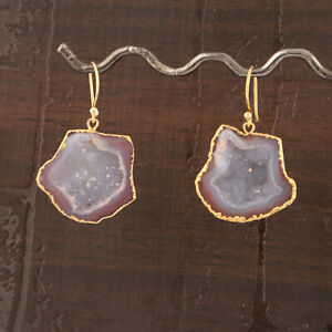 Peach Real Crystal Geode Slice Gold Plated Handmade Drop Dangle Earring Jewelry
