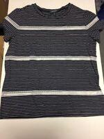 Lauren Ralph Lauren Womens Striped Crew Neck With Lace Trim Stripe Navy/White PL