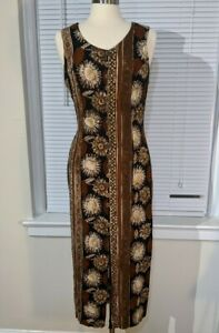 VTG 90s Nina Piccalino 10 Rayon sunflower summer maxi dress Boho grunge floral