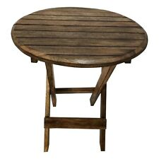 Farmhouse Wooden Round Folding Chair Side End Table with Planked Top, Rustic Bro