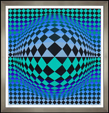Victor Vasarely Color Silkscreen Collage Vega Signed Op Art RARE Modern Illusion