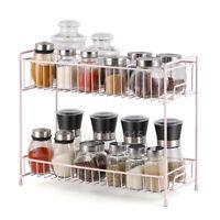 2-Tier Spice Rack Kitchen Storage Standing  Organizer Spice Shelf Holder