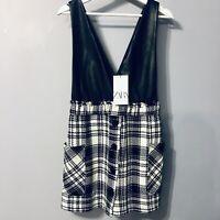 Zara Faux Leather Draped Mini Knitted Dress Medium Size