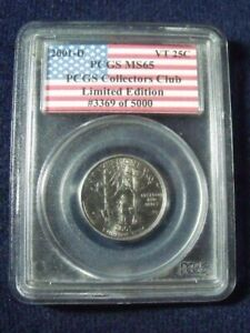 2001 D Vermont 25 cent PCGS MS 65 Limited Edition !  #3369 of 5000 Free Shipping